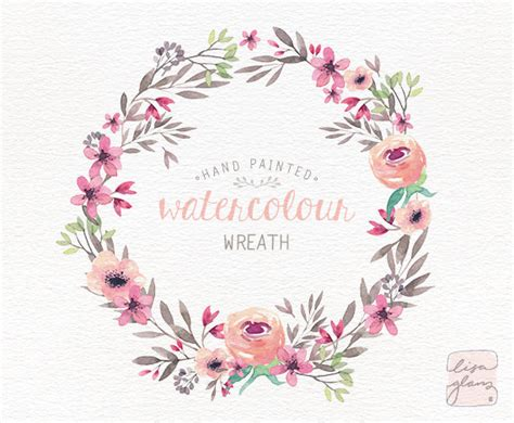 watercolor wreath painted floral wreath clipart wedding