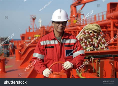 boatswain in ship seamen 194 old boatswain of the tanker ship stock photo