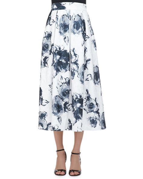 marc valvo floral jacquard pleated midi skirt