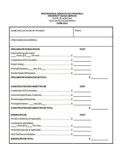10 cost proposal templates free sle exle format