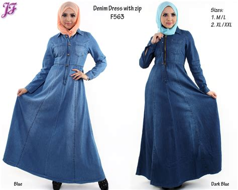 Gamis Zania By Shezan Dress Only new denim jean jubah dress f563 f5604 for march 2014 jf fashion
