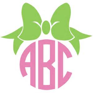 bow monogram bow monogram decal with circle font colors