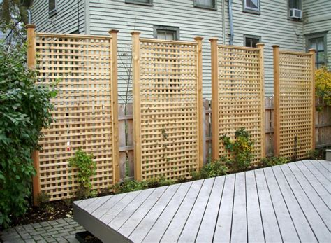 backyard privacy panels here are tall rectangular cedar lattice privacy panels