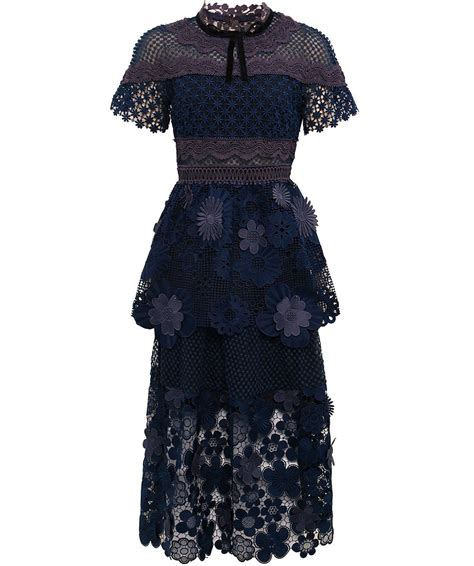 Lace Panel Dress seld portrait navy 3d floral lace panel dress jules b