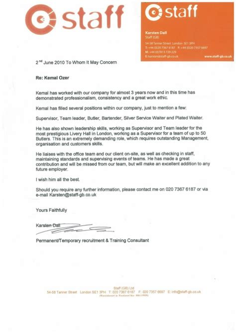Reference Letter Kitchen Staff Staff Reference Letter