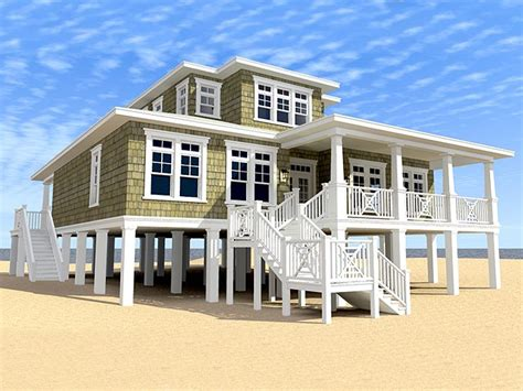 Coastal Floor Plans by Beach House Plans Two Story Coastal Home Plan 052h