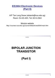 bjt transistor report ee 2004 t national of singapore page 1 course