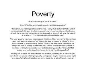 Essay On Poverty by Poverty Article How Much Do You About It What Can You Do To Help Gcse Marked