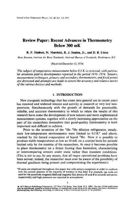 How To Make A Critique Paper - review paper recent advances in thermometry below 300 mk