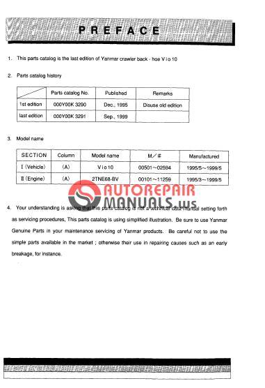 Yanmar Crawler Backhoe Vio10 Parts Manuals Auto Repair