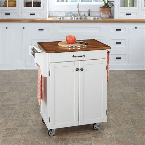 Home Depot Kitchen Carts by Home Styles Cuisine Cart White Kitchen Cart With Oak Top