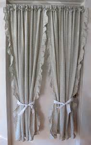 Cape Cod Curtains Green Check Cape Cod Curtains Ruffled Tie Back Drapes