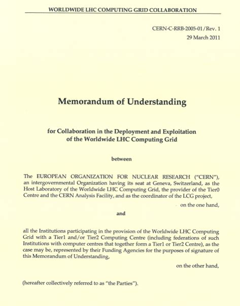 Memorandum Of Understanding Wlcg Mou Document Template