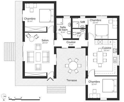 canapé en u design plan maison 100 m 178 224 toit plat ooreka