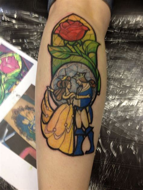window tattoo and the beast stained glass by alley at