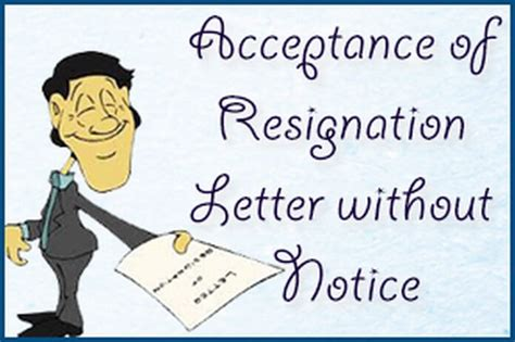 Acceptance Of Resignation Letter Without Notice Acceptance Of Resignation Letter Without Notice Hr Letter Formats