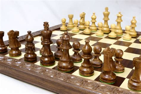 custom chess sets buy a handmade walnut and maple checkers chess board with carved border made to order from