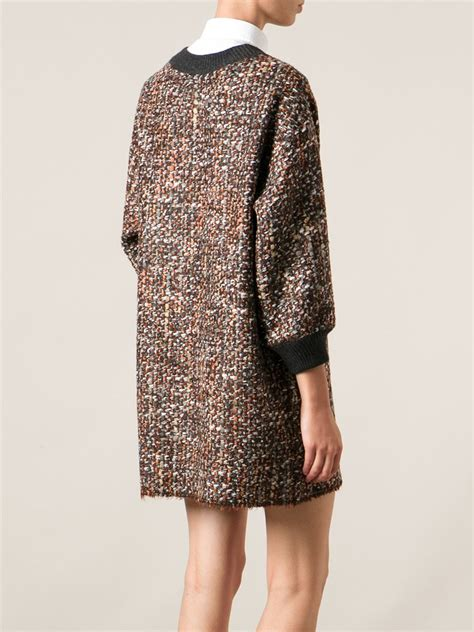 Dg Dolce And Gabbana Flash Collection Knit And Leather Shopper by Lyst Dolce Gabbana Boucle Knit Shift Dress In Brown