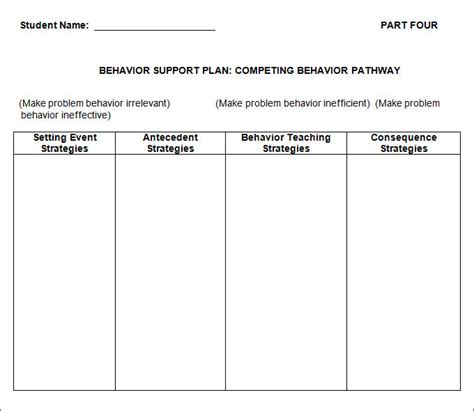 it support plan template behavior plan templates to better help your ward or child