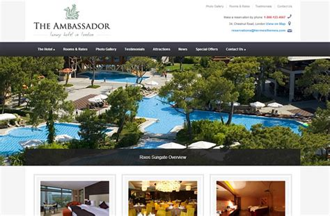 themes hotel wordpress the ambassador wordpress theme for hotels hermesthemes
