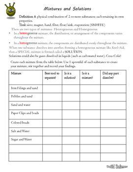 Separation Of Mixtures Worksheet by Separating Mixtures Lab Worksheet By Solid Science Tpt