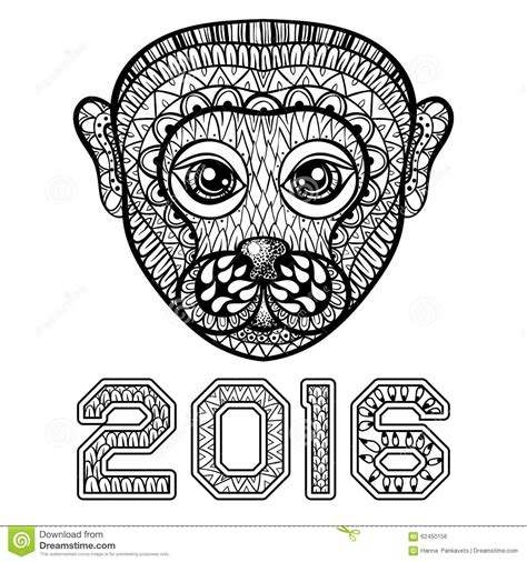 year of the monkey coloring page 2016 hand drawn monkey head symbol of new year 2016 zentangle