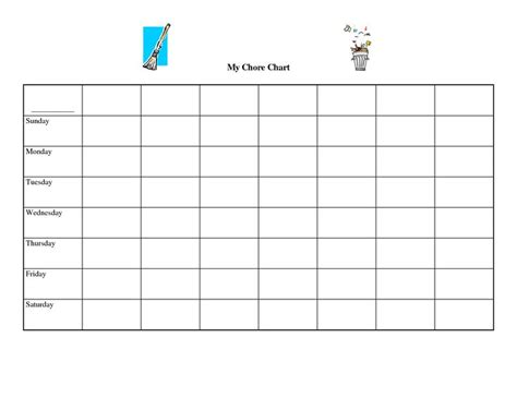 printable blank spreadsheets chore charts