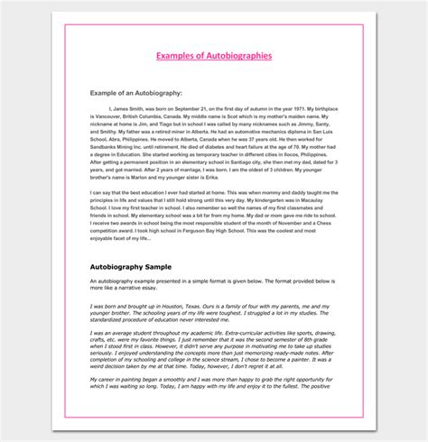 autobiography outline template 23 exles and formats