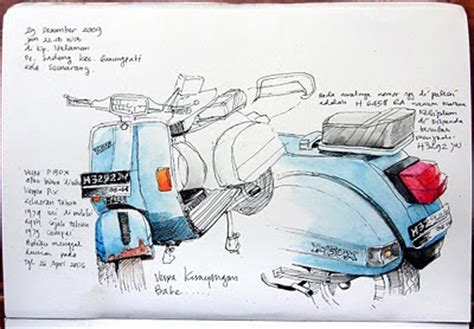 sketchbook kiky a5 jatmika sketch drawing vespa ku