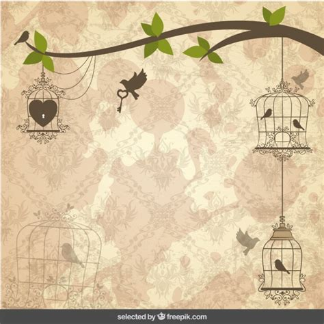 imagenes vectores gratis vintage vintage background with birds cages vector free download