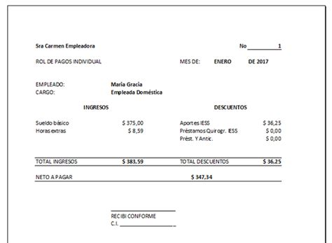 ejemplo de liquidacion de empleada de servicio rol de pagos para empleadas dom 233 sticas ecuadorlegalonline
