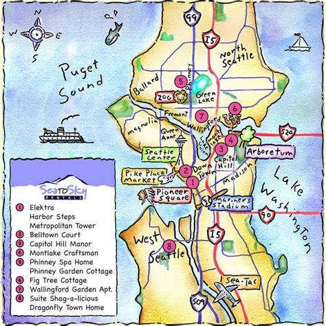 seattle map neighborhoods poster seattle map seattle