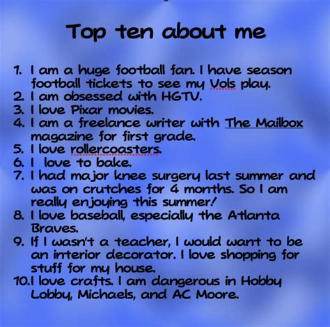 The Things I About Me top ten things about me swimming into second