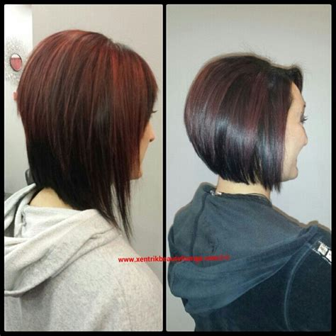 how to cut angled bob haircut myself short hair before and after angled bob highlighted hair