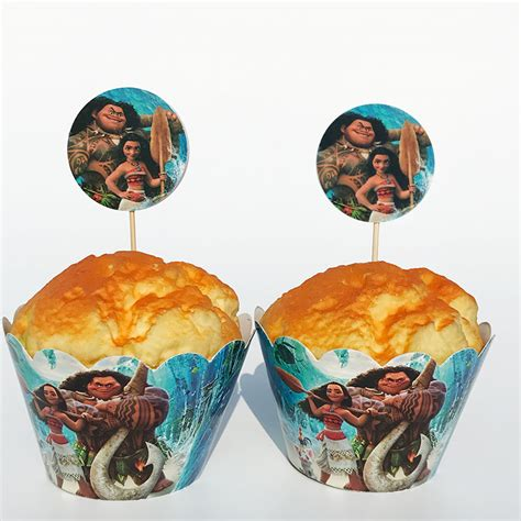Topper Moana 01 12sets moana paper cupcake wrappers cake toppers picks birthday decorations