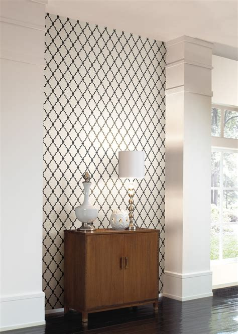 Trellis Wall wall in a box wib1015 trellis wallpaper white jet black home improvement