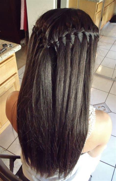 black hairstyles braids with hair down waterfall braid for long straight black hair my hair