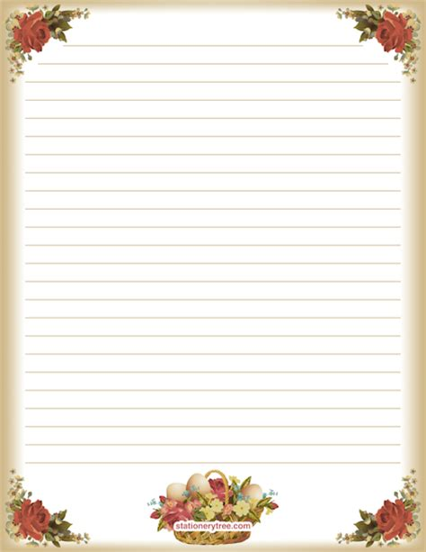 printable lined easter stationery printable easter stationery