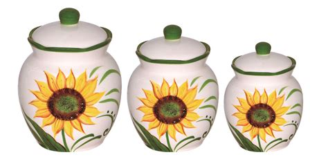 sunflower canisters sunflower design 3 deluxe canister set