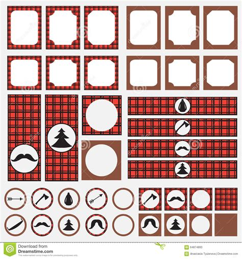 Printable Set Of Vintage Lumberjack Party Elements Templates Labels Icons And Wraps Stock Buffalo Plaid Invitation Template
