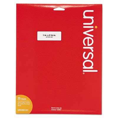 Unv 80101 Template Unv 80101 Universal Laser Printer Permanent Labels 1 X 2 5 8 White 750 Pack