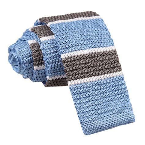 light grey skinny tie dqt knit knitted thin stripe light blue grey with white