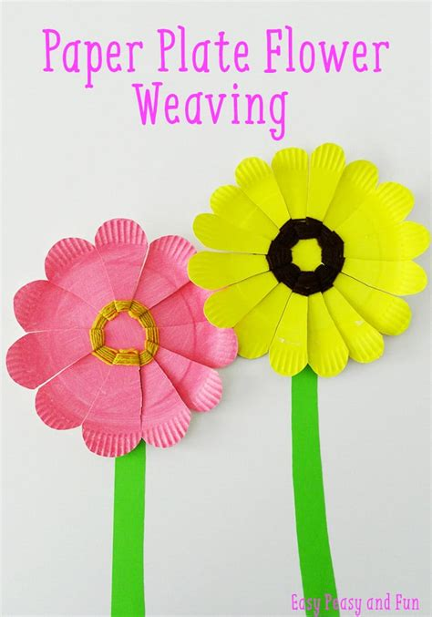 Paper Plate Flower Craft - paper plate flower weaving easy peasy and