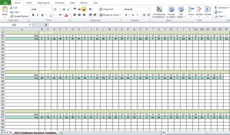 vacation tracker template employee vacation tracking excel template 2015 excel tmp