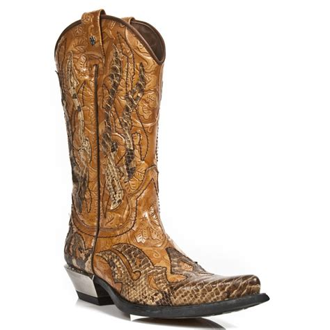 custom mens cowboy boots new rock m 7921b c2 custom brown faux snakeskin cowboy