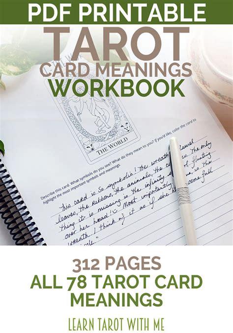 printable tarot cards pdf tarot card meanings tarot workbook learn tarot reading with