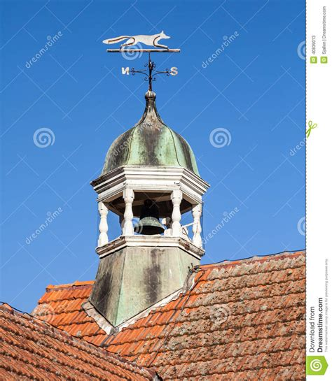 Cupola Tower Tiled Orange Roof With Bell Tower And Fox Weather Vane