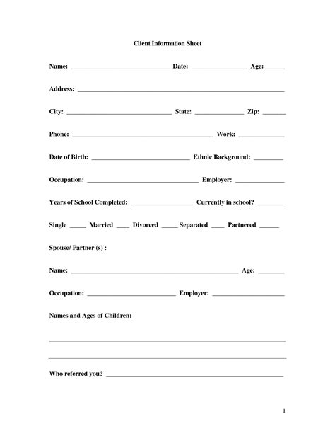 personal information form template word basic personal information form template pictures to pin