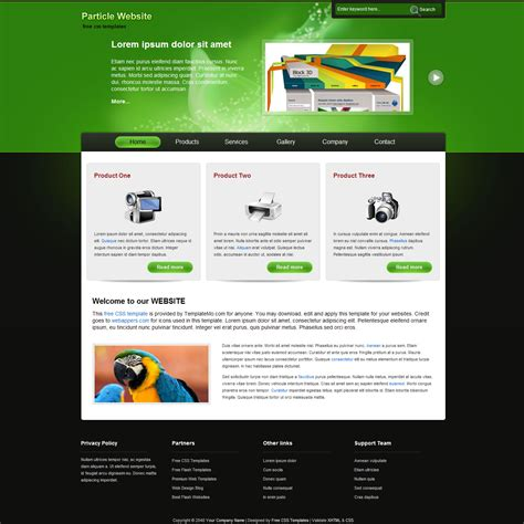 Free Template 204 Particle Net Website Templates