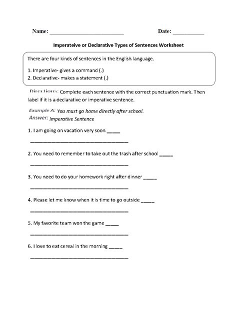 Types Of Sentences Worksheets 3rd Grade by Four Types Of Sentences 3rd Grade Anchor Chart